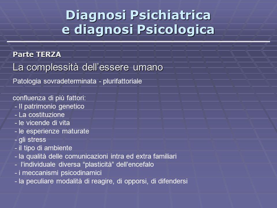 Diagnosi Psichiatrica e diagnosi Psicologica Parte TERZA La complessità dell'essere umano Fattori specifici, specifiche elaborazioni teoriche Esempi: teoria sistemico-relazionale : - l'ambiente familiare è un sistema aperto - ogni elemento condiziona tutti gli altri - la comunicazione ( Verso una teoria della schizofrenia ) dinamiche intrapsichiche: -complessi -sensi di colpa -aggressività -scarsa socievolezza -difese Caratteristiche comuni a tutte le teorie: -aree tutte complementari -componenti che convergono in un tutto -validità provata -aspetti innovativi -insorgenze storiche differenti