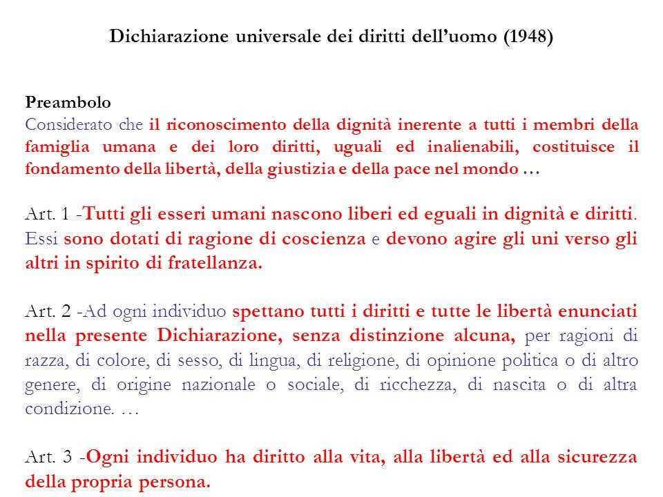 Dichiarazione universale dei diritti dell'uomo (1948) Preambolo Considerato che il riconoscimento della dignità inerente a tutti i membri della famigl