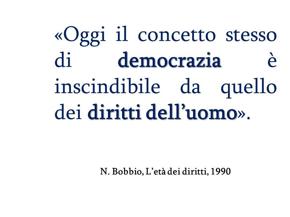 democrazia diritti dell'uomo «Oggi il concetto stesso di democrazia è inscindibile da quello dei diritti dell'uomo». N. Bobbio, L'età dei diritti, 199