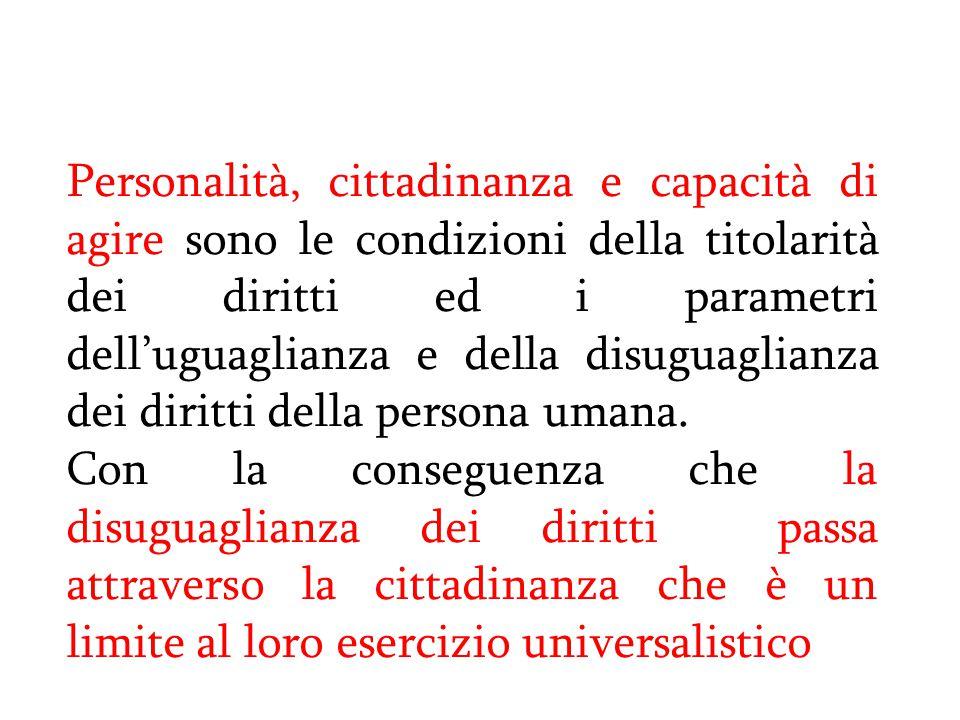 Personalità, cittadinanza e capacità di agire sono le condizioni della titolarità dei diritti ed i parametri dell'uguaglianza e della disuguaglianza d
