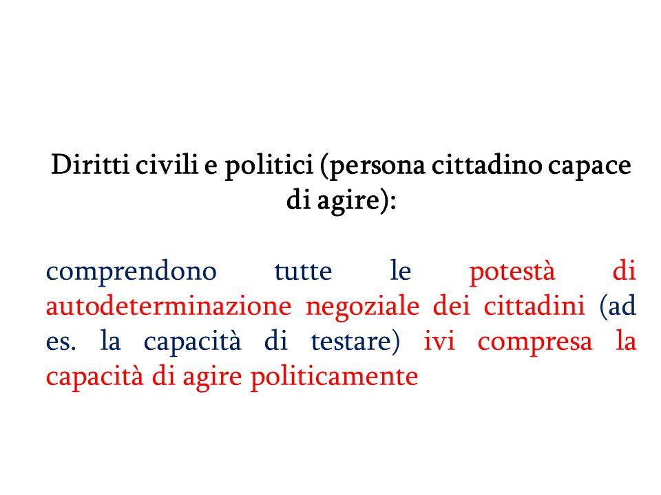 Diritti civili e politici (persona cittadino capace di agire): comprendono tutte le potestà di autodeterminazione negoziale dei cittadini (ad es. la c
