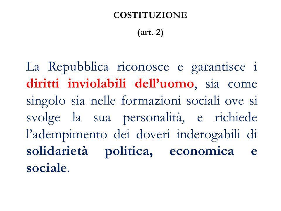 COSTITUZIONE (art. 2) La Repubblica riconosce e garantisce i diritti inviolabili dell'uomo, sia come singolo sia nelle formazioni sociali ove si svolg