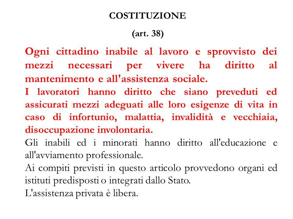 COSTITUZIONE (art. 38) Ogni cittadino inabile al lavoro e sprovvisto dei mezzi necessari per vivere ha diritto al mantenimento e all'assistenza social
