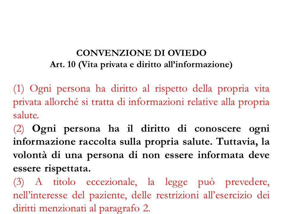 CONVENZIONE DI OVIEDO Art. 10 (Vita privata e diritto all'informazione) (1) Ogni persona ha diritto al rispetto della propria vita privata allorché si