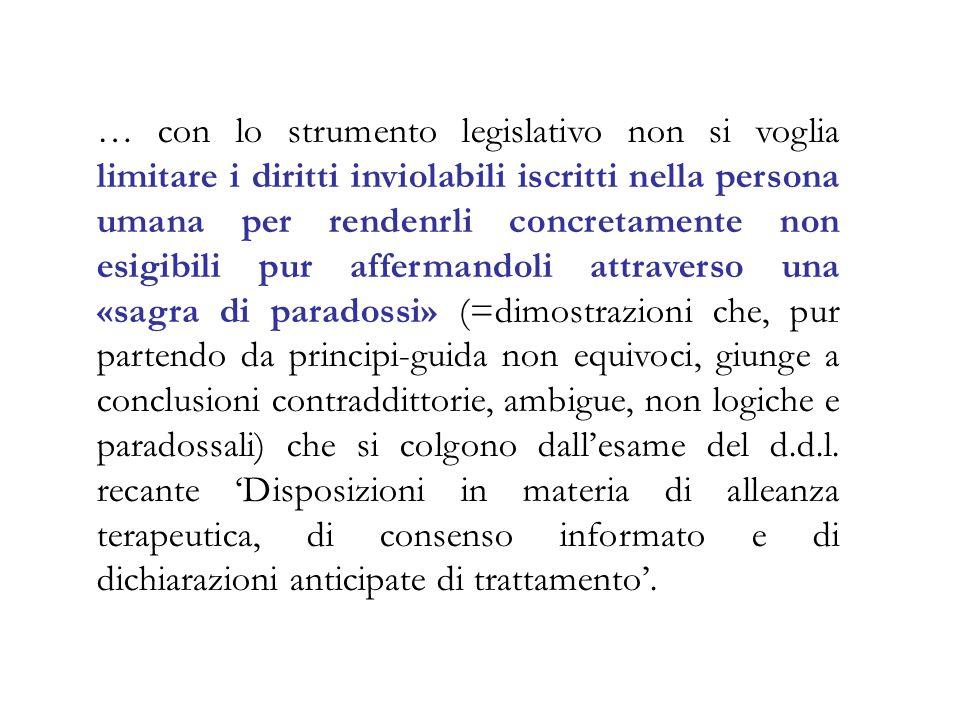 … con lo strumento legislativo non si voglia limitare i diritti inviolabili iscritti nella persona umana per rendenrli concretamente non esigibili pur
