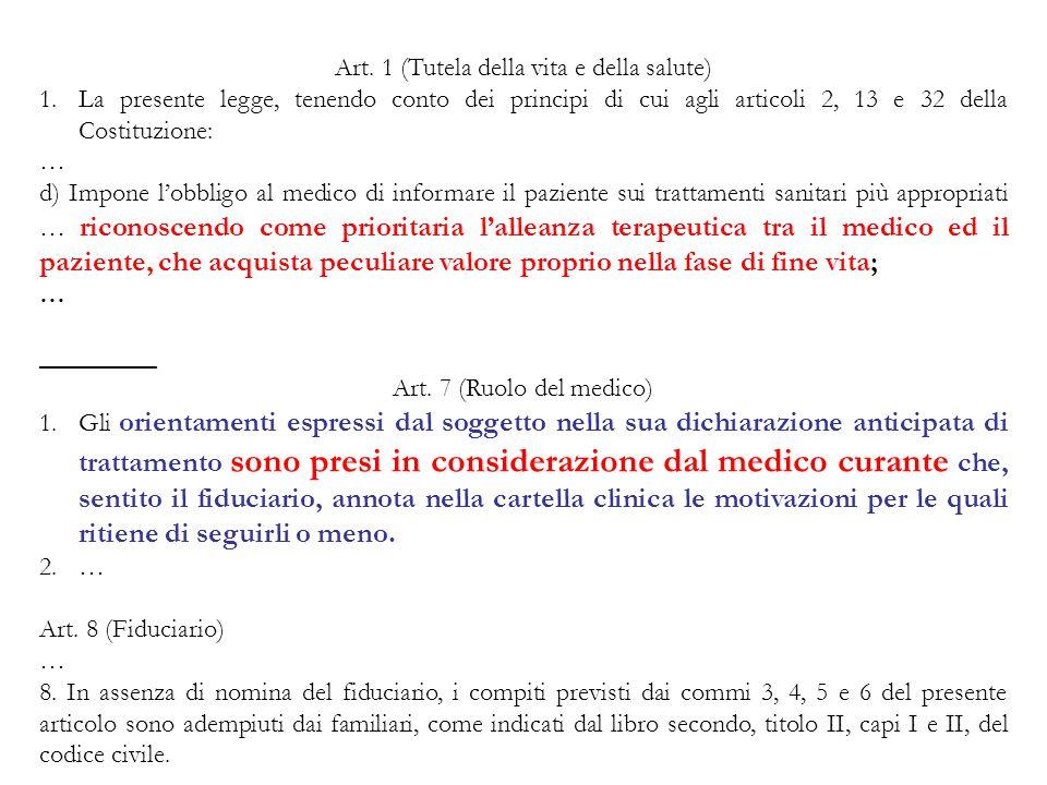 Art. 1 (Tutela della vita e della salute) 1.La presente legge, tenendo conto dei principi di cui agli articoli 2, 13 e 32 della Costituzione: … d) Imp