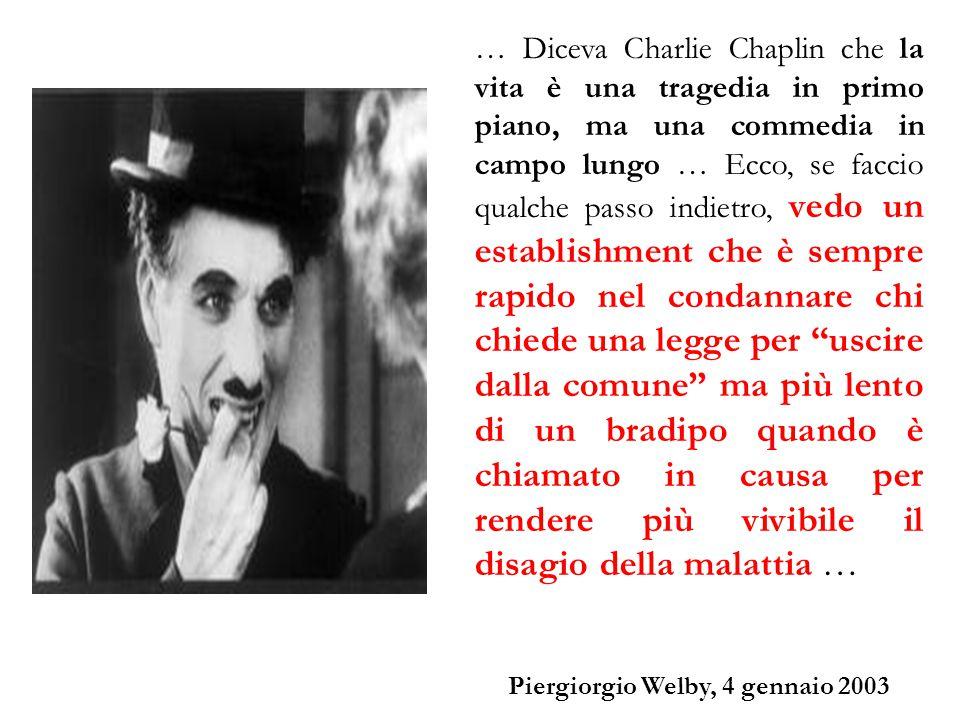 … Diceva Charlie Chaplin che la vita è una tragedia in primo piano, ma una commedia in campo lungo … Ecco, se faccio qualche passo indietro, vedo un e