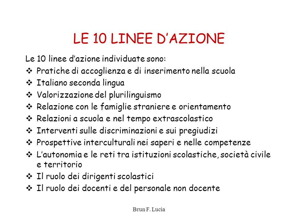 Brun F. Lucia LE 10 LINEE D'AZIONE Le 10 linee d'azione individuate sono:  Pratiche di accoglienza e di inserimento nella scuola  Italiano seconda l