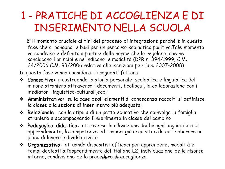 Brun F. Lucia 1 - PRATICHE DI ACCOGLIENZA E DI INSERIMENTO NELLA SCUOLA E' il momento cruciale ai fini del processo di integrazione perché è in questa