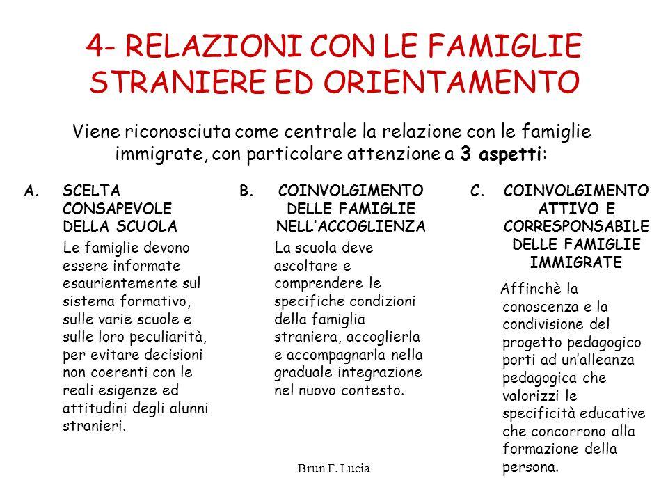 Brun F. Lucia 4- RELAZIONI CON LE FAMIGLIE STRANIERE ED ORIENTAMENTO A.SCELTA CONSAPEVOLE DELLA SCUOLA Le famiglie devono essere informate esaurientem