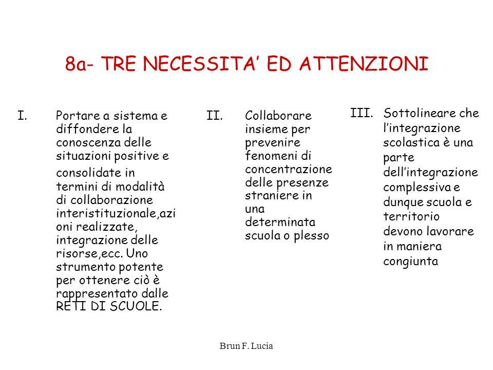 Brun F. Lucia 8a- TRE NECESSITA' ED ATTENZIONI I.Portare a sistema e diffondere la conoscenza delle situazioni positive e consolidate in termini di mo