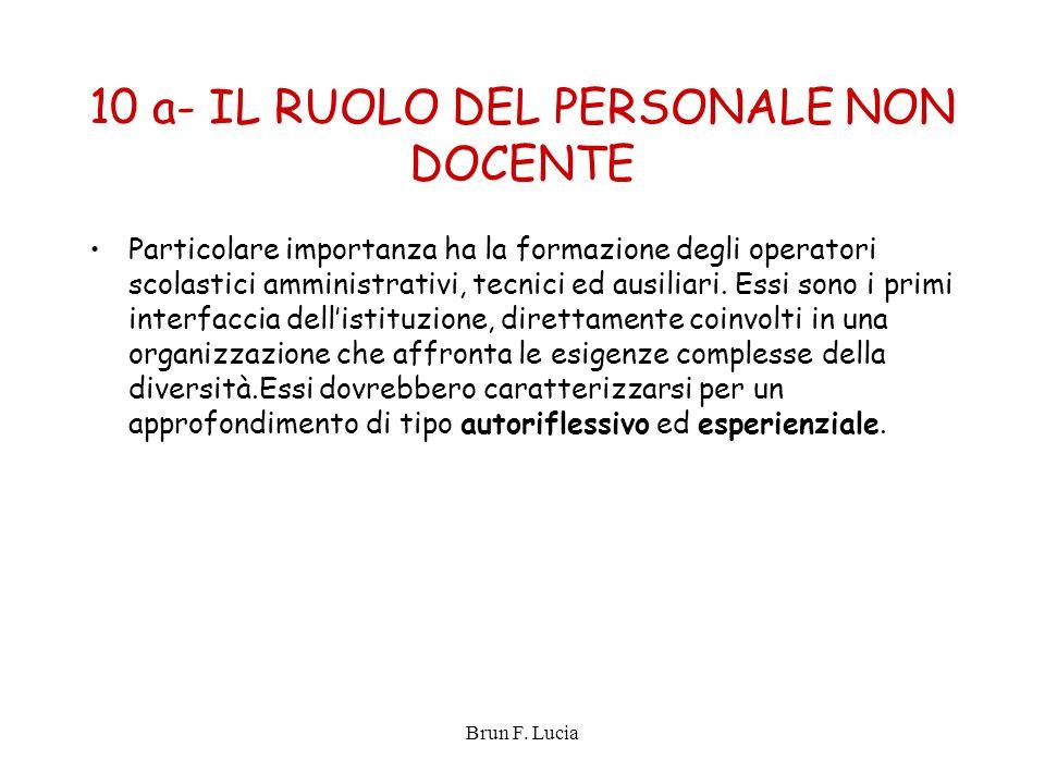Brun F. Lucia 10 a- IL RUOLO DEL PERSONALE NON DOCENTE Particolare importanza ha la formazione degli operatori scolastici amministrativi, tecnici ed a