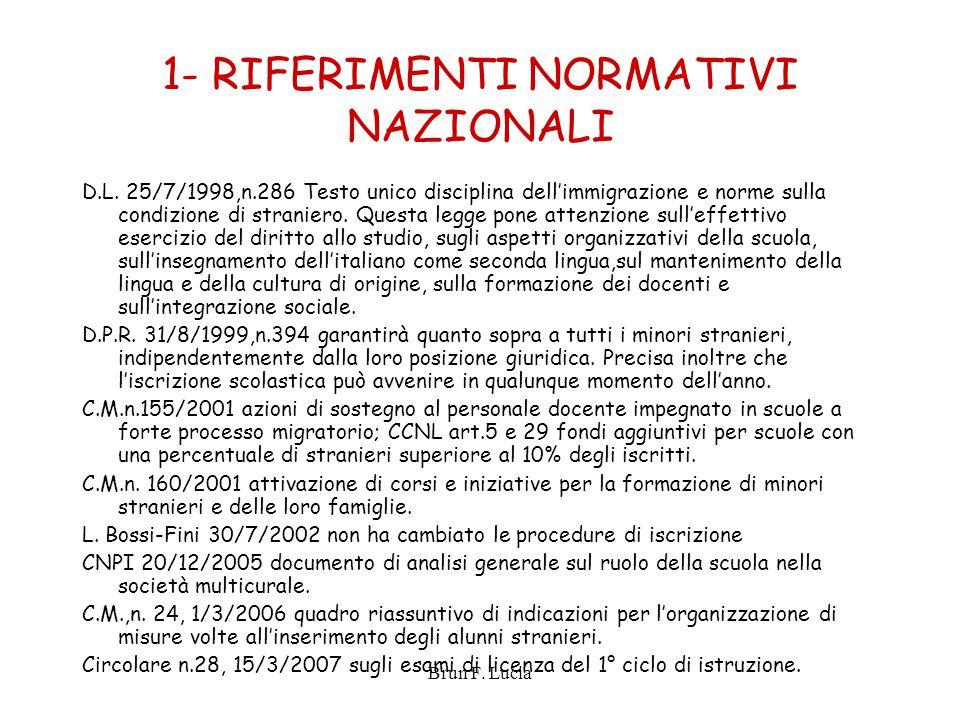 Brun F. Lucia 1- RIFERIMENTI NORMATIVI NAZIONALI D.L. 25/7/1998,n.286 Testo unico disciplina dell'immigrazione e norme sulla condizione di straniero.