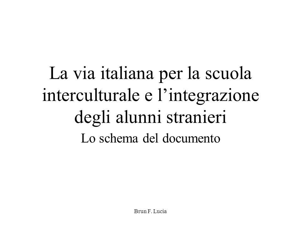 Brun F. Lucia La via italiana per la scuola interculturale e l'integrazione degli alunni stranieri Lo schema del documento