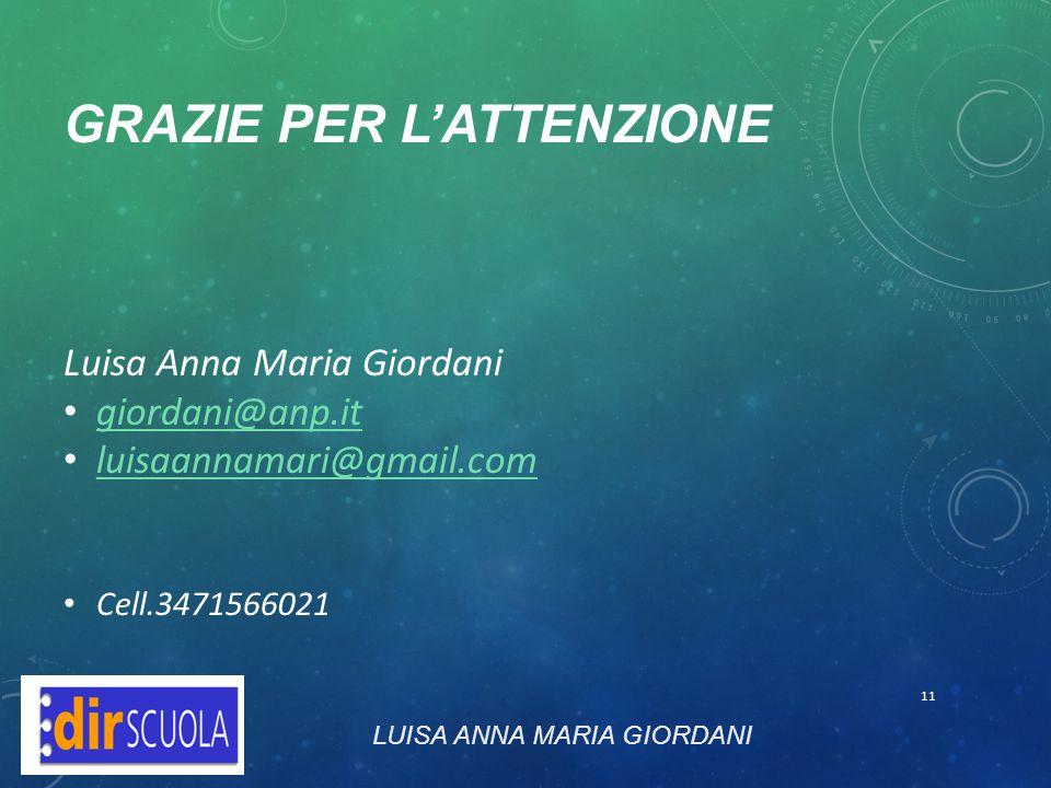 GRAZIE PER L'ATTENZIONE Luisa Anna Maria Giordani giordani@anp.it luisaannamari@gmail.com Cell.3471566021 LUISA ANNA MARIA GIORDANI 11