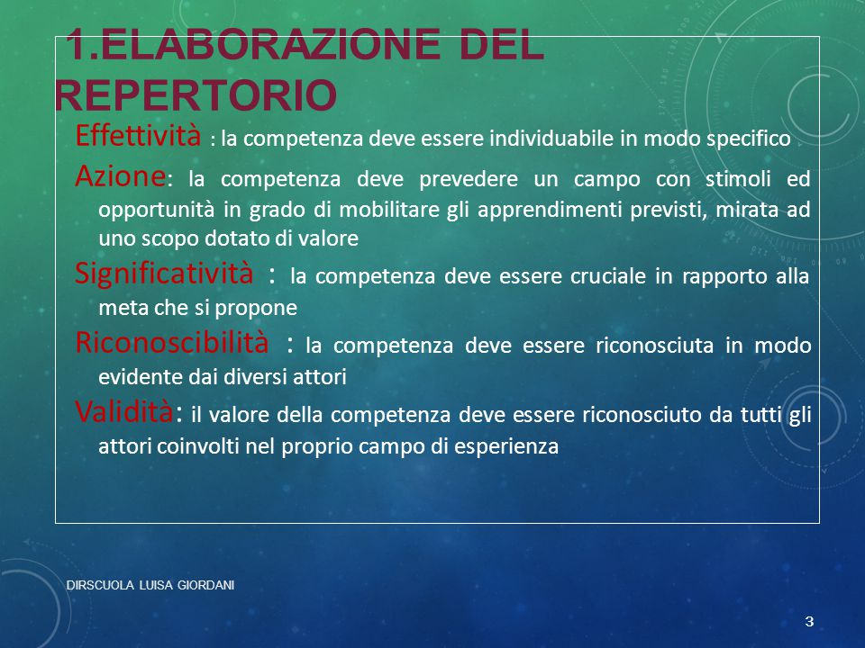 1.ELABORAZIONE DEL REPERTORIO Effettività : la competenza deve essere individuabile in modo specifico Azione : la competenza deve prevedere un campo c