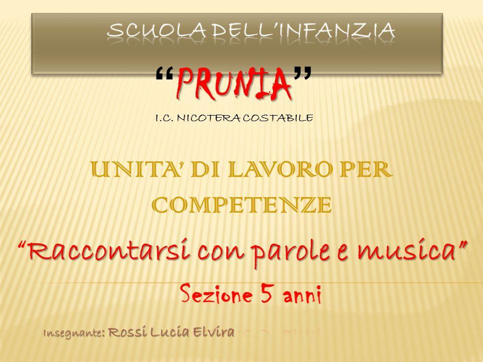 UNITA' DI LAVORO PER COMPETENZE Raccontarsi con parole e musica PRUNIA PRUNIA I.C.