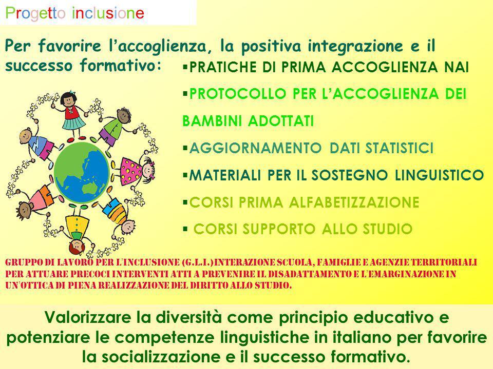 Per favorire l'accoglienza, la positiva integrazione e il successo formativo: Valorizzare la diversità come principio educativo e potenziare le compet