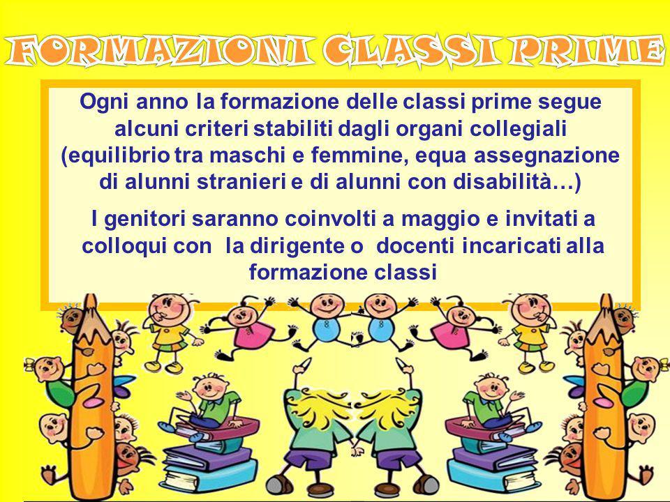 Ogni anno la formazione delle classi prime segue alcuni criteri stabiliti dagli organi collegiali (equilibrio tra maschi e femmine, equa assegnazione