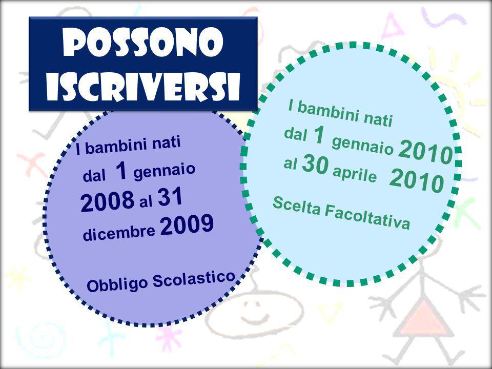 I bambini nati dal 1 gennaio 2008 al 31 dicembre 2009 Obbligo Scolastico I bambini nati dal 1 gennaio 2010 al 30 aprile 2010 Scelta Facoltativa Posson