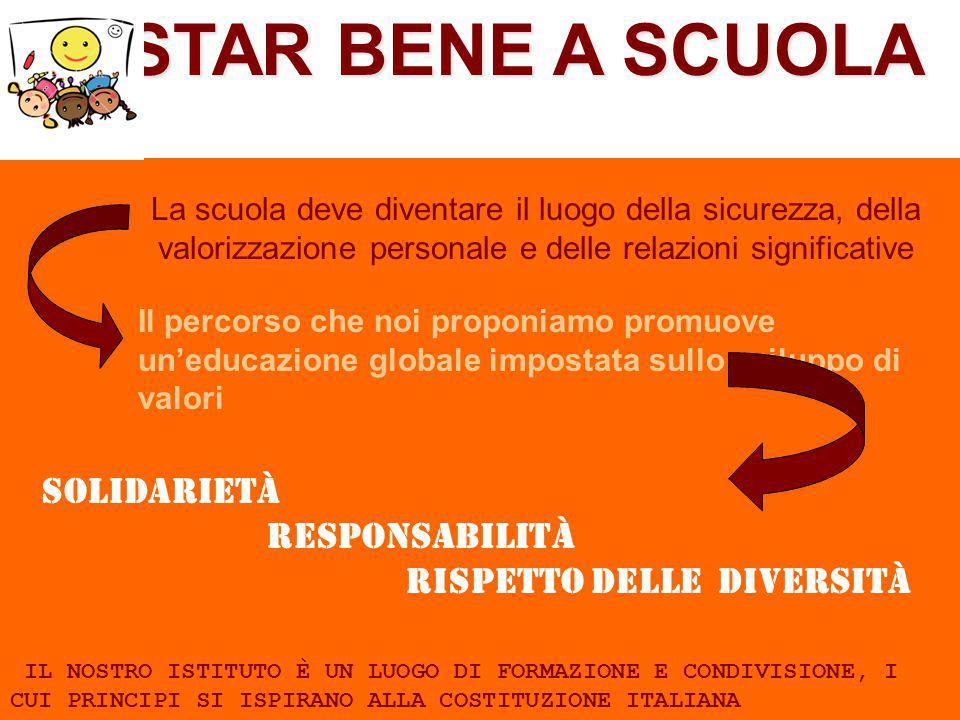 STAR BENE A SCUOLA La scuola deve diventare il luogo della sicurezza, della valorizzazione personale e delle relazioni significative Il percorso che n