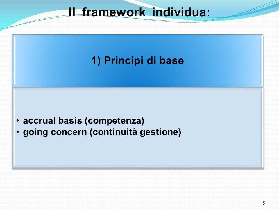 Il framework individua: 1) Principi di base accrual basis (competenza) going concern (continuità gestione) 5