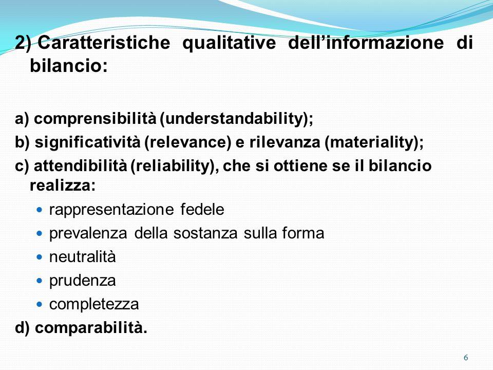 2) Caratteristiche qualitative dell'informazione di bilancio: a) comprensibilità (understandability); b) significatività (relevance) e rilevanza (materiality); c) attendibilità (reliability), che si ottiene se il bilancio realizza: rappresentazione fedele prevalenza della sostanza sulla forma neutralità prudenza completezza d) comparabilità.