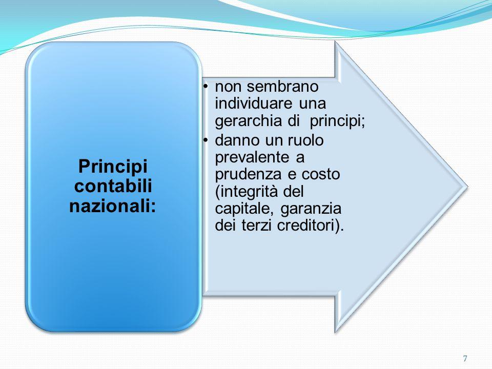 non sembrano individuare una gerarchia di principi; danno un ruolo prevalente a prudenza e costo (integrità del capitale, garanzia dei terzi creditori).