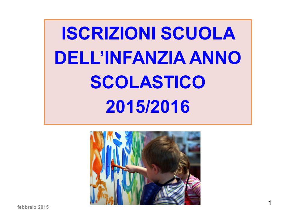 1 ISCRIZIONI SCUOLA DELL'INFANZIA ANNO SCOLASTICO 2015/2016 febbraio 2015