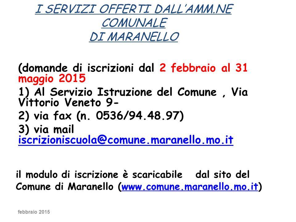 (domande di iscrizioni dal 2 febbraio al 31 maggio 2015 1) Al Servizio Istruzione del Comune, Via Vittorio Veneto 9- 2) via fax (n.