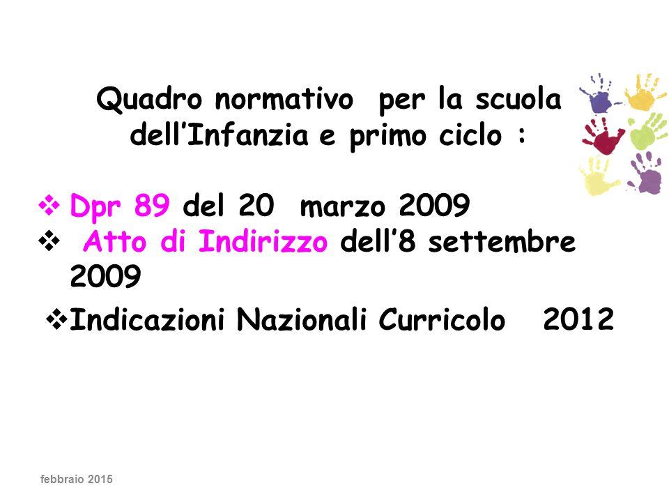 febbraio 2015 Quadro normativo per la scuola dell'Infanzia e primo ciclo :  Dpr 89 del 20 marzo 2009  Atto di Indirizzo dell'8 settembre 2009  Indicazioni Nazionali Curricolo 2012