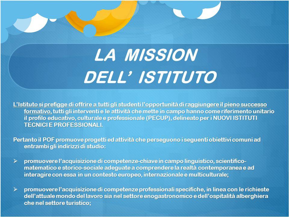 LA MISSION DELL' ISTITUTO L'Istituto si prefigge di offrire a tutti gli studenti l'opportunità di raggiungere il pieno successo formativo, tutti gli i