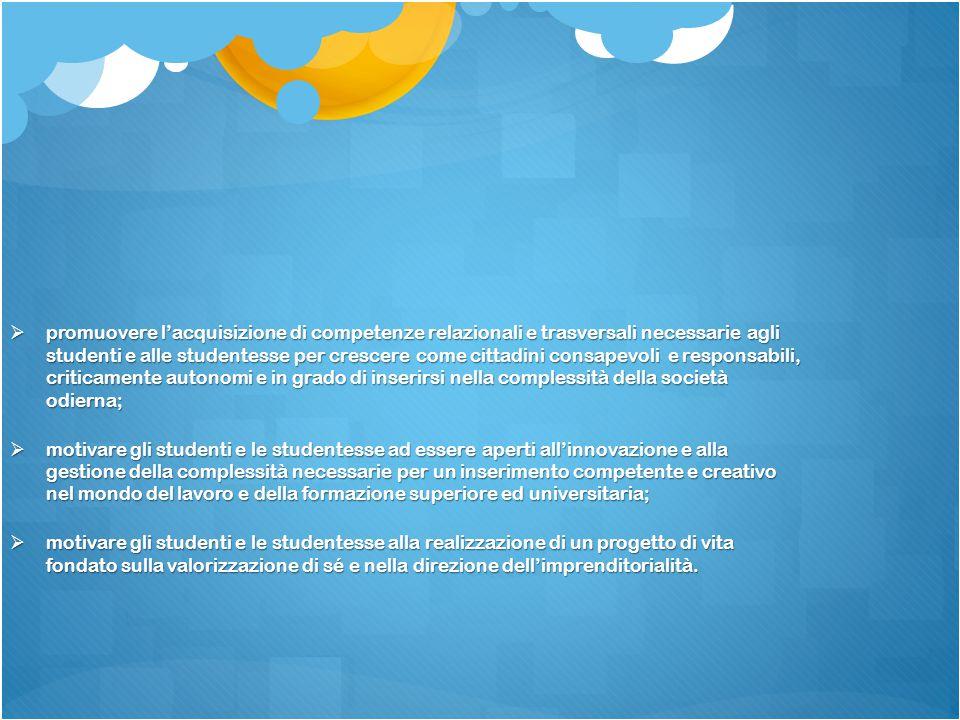  promuovere l'acquisizione di competenze relazionali e trasversali necessarie agli studenti e alle studentesse per crescere come cittadini consapevol