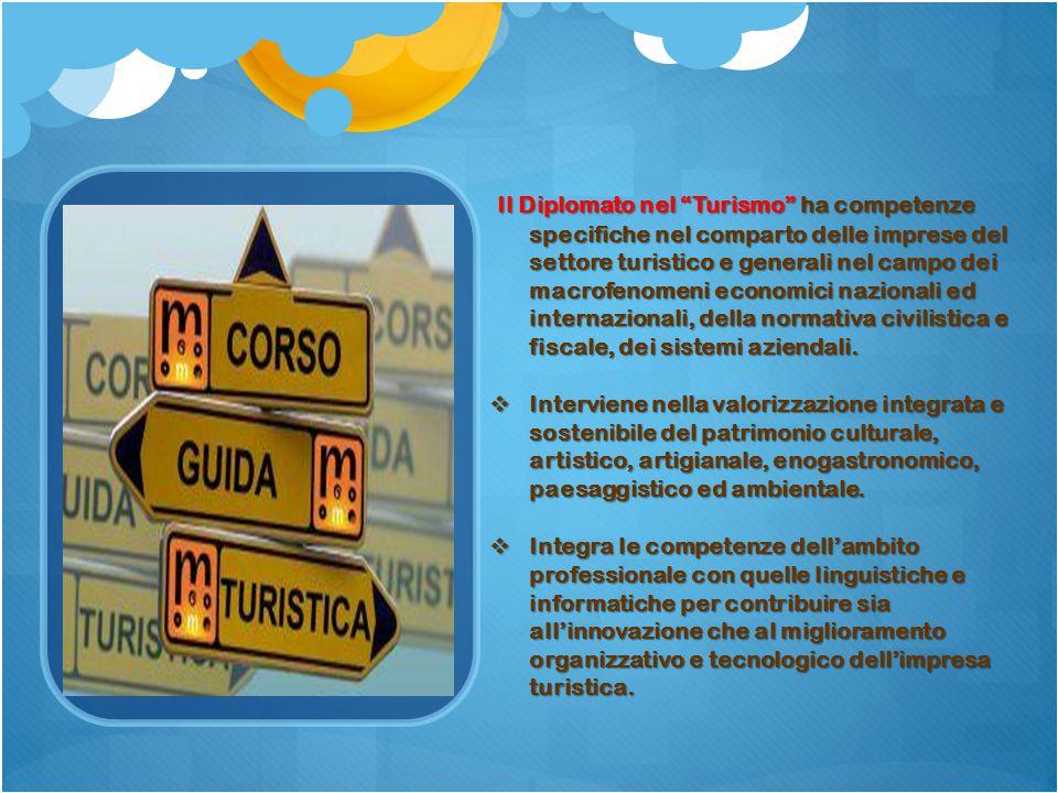 """Il Diplomato nel """"Turismo"""" ha competenze specifiche nel comparto delle imprese del settore turistico e generali nel campo dei macrofenomeni economici"""