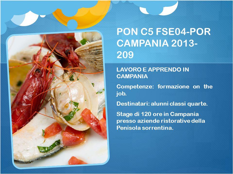 PON C5 FSE04-POR CAMPANIA 2013- 209 LAVORO E APPRENDO IN CAMPANIA Competenze: formazione on the job. Destinatari: alunni classi quarte. Stage di 120 o