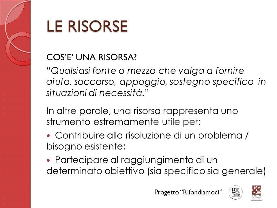 LE RISORSE TIPOLOGIE DI RISORSE Esistono varie tipologie di risorse che possono essere classificate secondo diversi criteri.