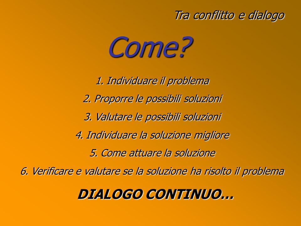 Tra conflitto e dialogo Come.