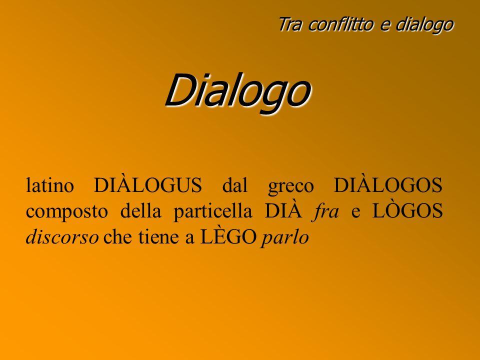 Tra conflitto e dialogo Dialogo latino DIÀLOGUS dal greco DIÀLOGOS composto della particella DIÀ fra e LÒGOS discorso che tiene a LÈGO parlo