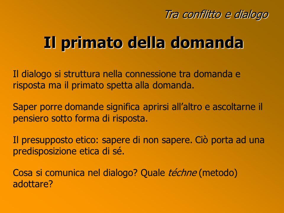 Tra conflitto e dialogo Il primato della domanda Il dialogo si struttura nella connessione tra domanda e risposta ma il primato spetta alla domanda.