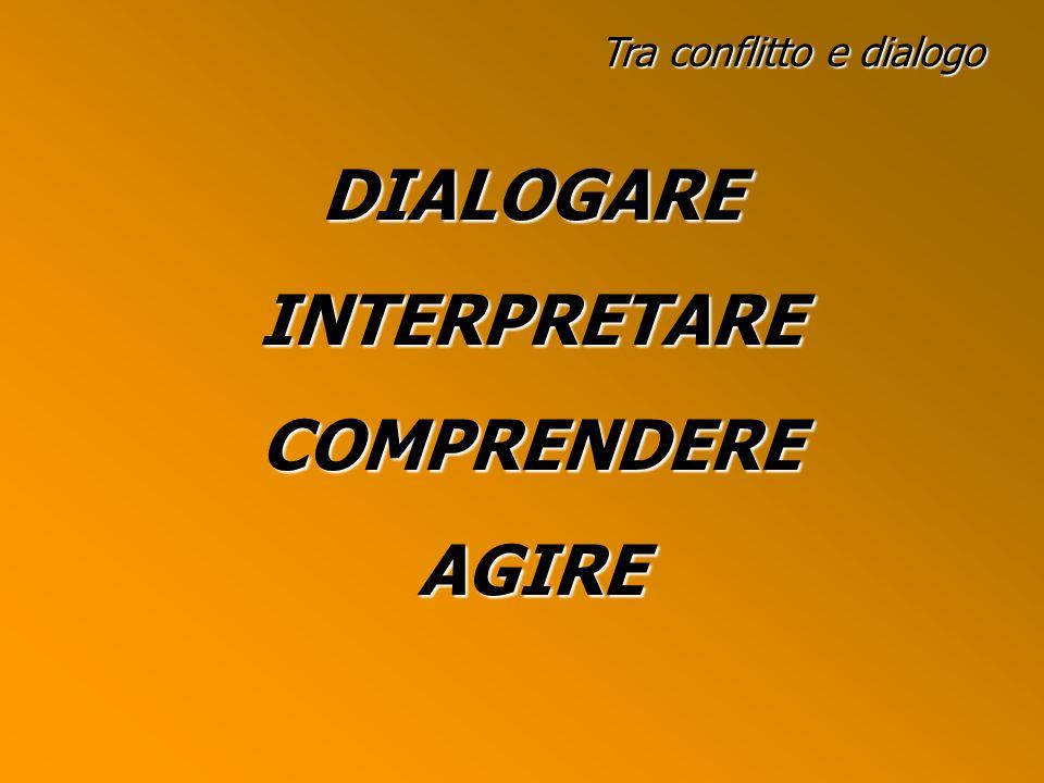 Tra conflitto e dialogo DIALOGAREINTERPRETARECOMPRENDEREAGIRE