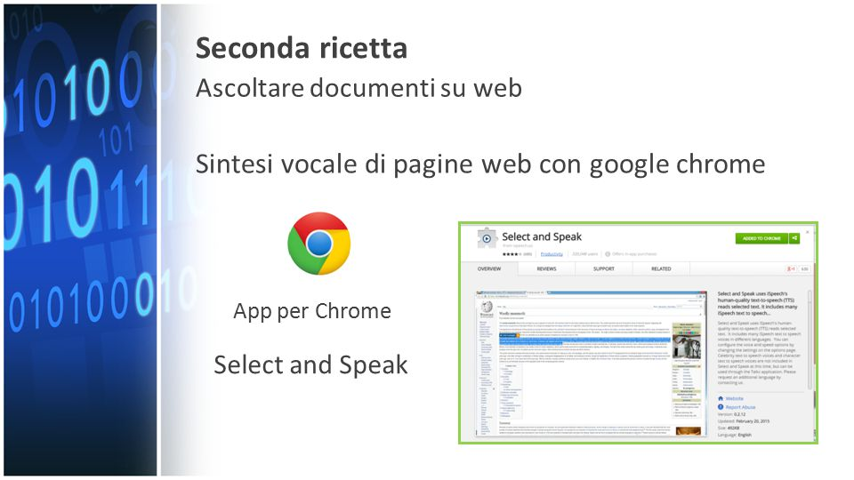 Sintesi vocale di pagine web con google chrome App per Chrome Select and Speak Seconda ricetta Ascoltare documenti su web