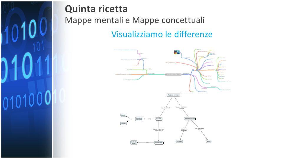Visualizziamo le differenze Quinta ricetta Mappe mentali e Mappe concettuali