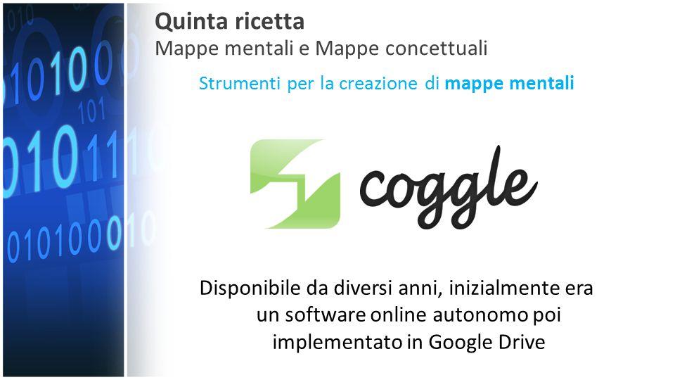 Strumenti per la creazione di mappe mentali Quinta ricetta Mappe mentali e Mappe concettuali Disponibile da diversi anni, inizialmente era un software online autonomo poi implementato in Google Drive