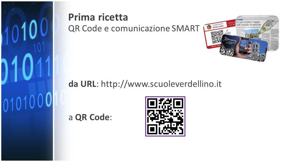 da URL: http://www.scuoleverdellino.it a QR Code: Prima ricetta QR Code e comunicazione SMART