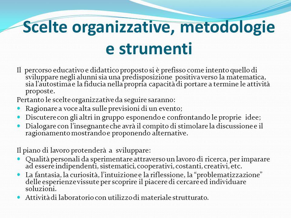 Scelte organizzative, metodologie e strumenti Il percorso educativo e didattico proposto si è prefisso come intento quello di sviluppare negli alunni