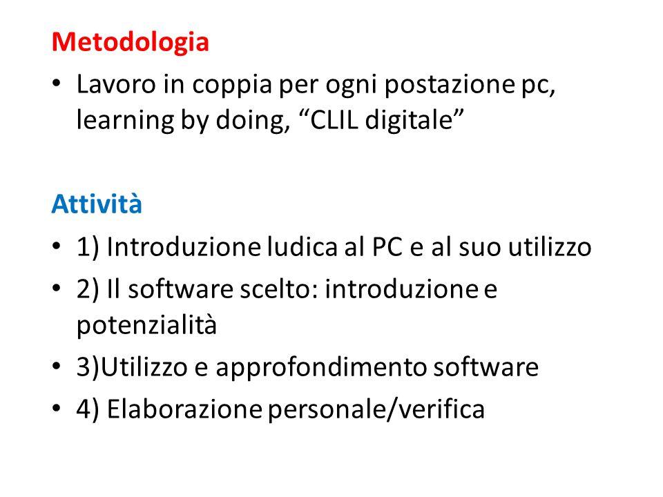 """Metodologia Lavoro in coppia per ogni postazione pc, learning by doing, """"CLIL digitale"""" Attività 1) Introduzione ludica al PC e al suo utilizzo 2) Il"""