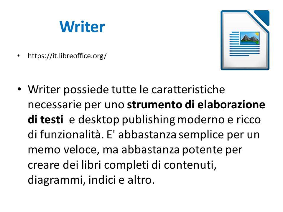 Writer https://it.libreoffice.org/ Writer possiede tutte le caratteristiche necessarie per uno strumento di elaborazione di testi e desktop publishing