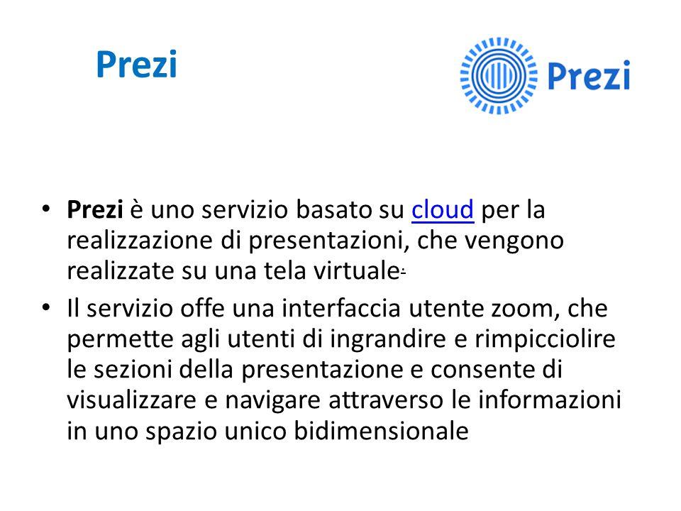 Prezi Prezi è uno servizio basato su cloud per la realizzazione di presentazioni, che vengono realizzate su una tela virtuale.cloud Il servizio offe u