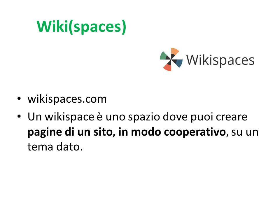Wiki(spaces) wikispaces.com Un wikispace è uno spazio dove puoi creare pagine di un sito, in modo cooperativo, su un tema dato.