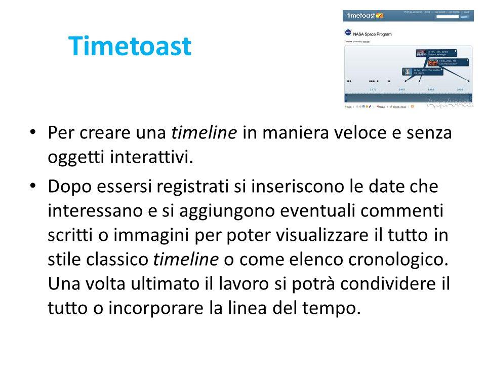 Timetoast Per creare una timeline in maniera veloce e senza oggetti interattivi. Dopo essersi registrati si inseriscono le date che interessano e si a